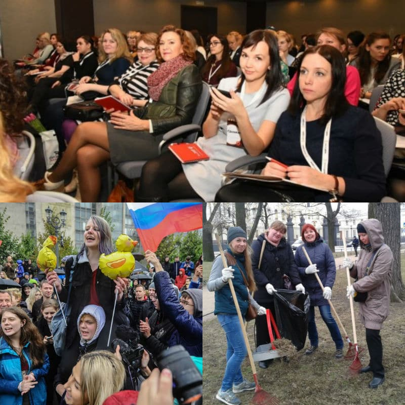 Russian women involved in social activities